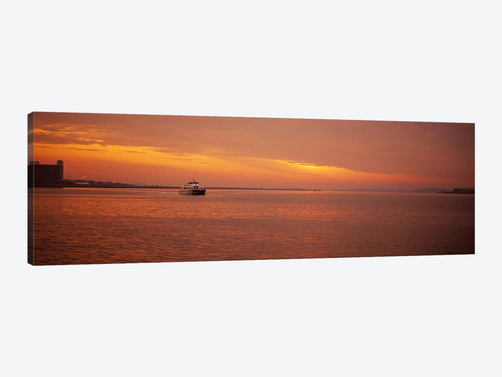 Ferry moving in the sea at sunrise, Boston, Massachusetts, USA by Panoramic Images 1-piece Canvas Wall Art