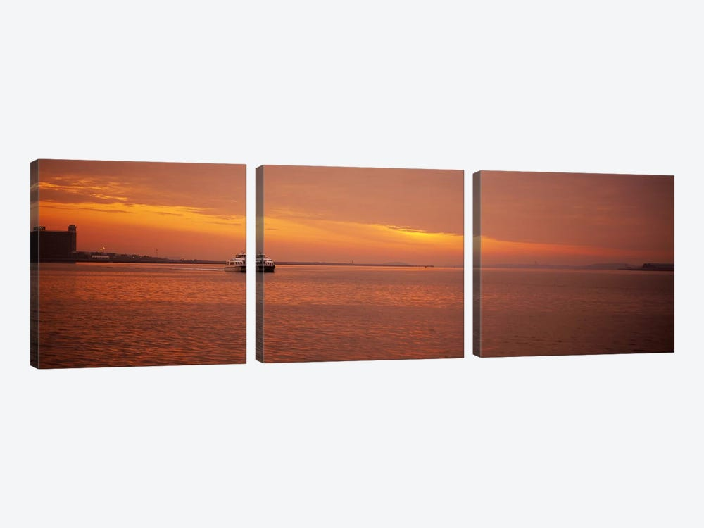 Ferry moving in the sea at sunrise, Boston, Massachusetts, USA by Panoramic Images 3-piece Canvas Artwork