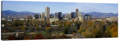 Skyscrapers in a city with mountains in the background, Denver, Colorado, USA Canvas Print #PIM5894