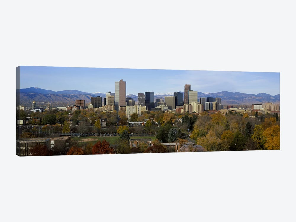 Skyscrapers in a city with mountains in the background, Denver, Colorado, USA by Panoramic Images 1-piece Canvas Artwork