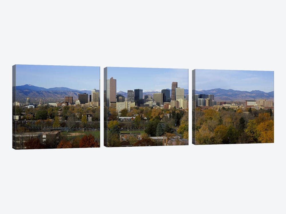 Skyscrapers in a city with mountains in the background, Denver, Colorado, USA 3-piece Canvas Art