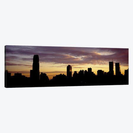 Silhouette of skyscrapers at sunset, Manhattan, New York City, New York State, USA Canvas Print #PIM5897} by Panoramic Images Canvas Art