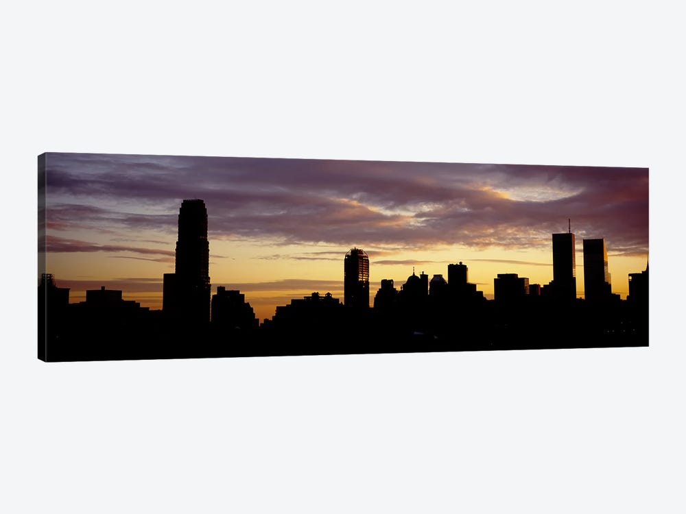 Silhouette of skyscrapers at sunset, Manhattan, New York City, New York State, USA by Panoramic Images 1-piece Canvas Print