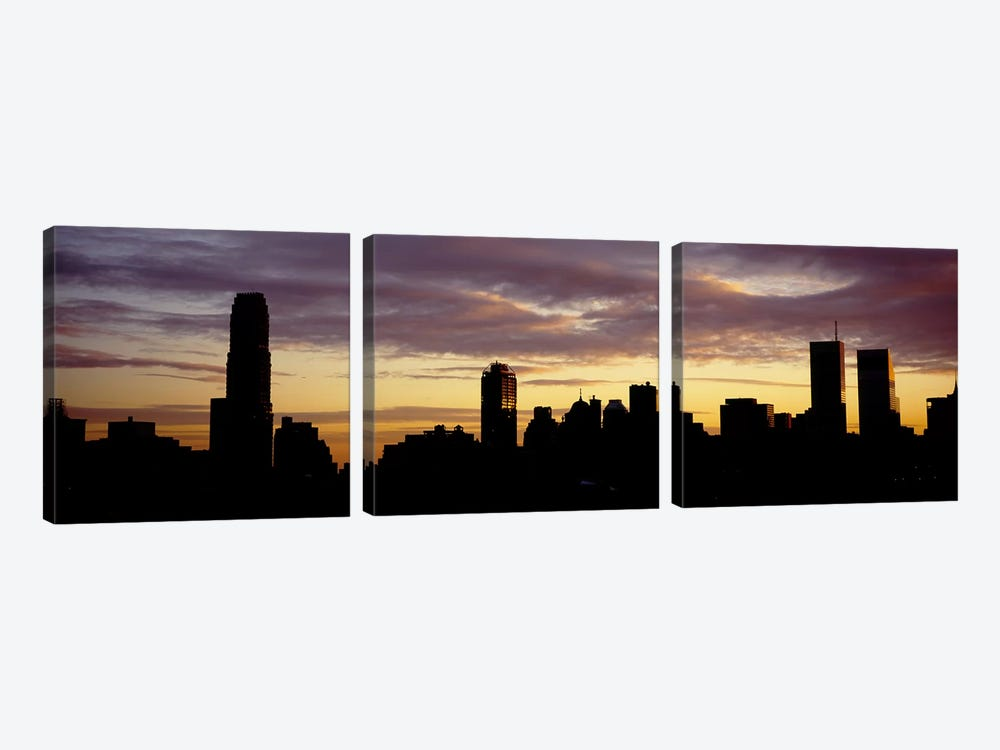 Silhouette of skyscrapers at sunset, Manhattan, New York City, New York State, USA by Panoramic Images 3-piece Canvas Print
