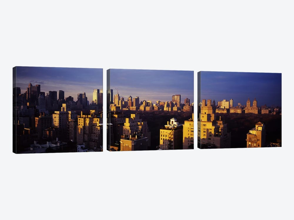 High angle view of a cityscape, Central Park, Manhattan, New York City, New York State, USA 3-piece Canvas Art