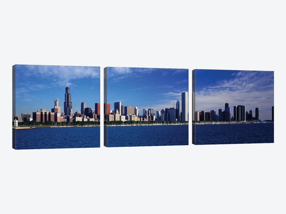 Skyline From Lake Michigan, Chicago, Illinois, USA by Panoramic Images 3-piece Canvas Art Print