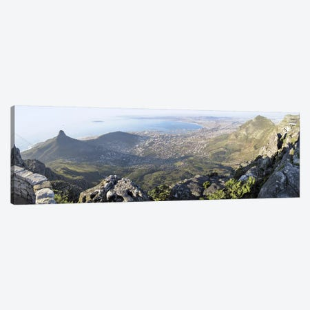 View Of City Centre And Surrounding Neighborhoods From Table Mountain, Cape Town, Western Cape, South Africa Canvas Print #PIM5902} by Panoramic Images Canvas Art Print