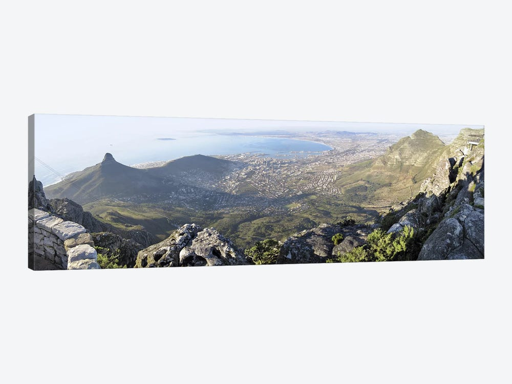 View Of City Centre And Surrounding Neighborhoods From Table Mountain, Cape Town, Western Cape, South Africa by Panoramic Images 1-piece Canvas Wall Art