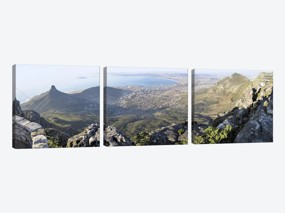 View Of City Centre And Surrounding Neighborhoods From Table Mountain, Cape Town, Western Cape, South Africa by Panoramic Images 3-piece Canvas Art