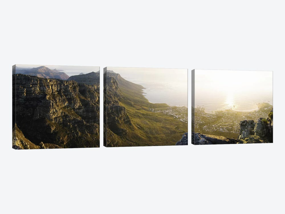 View Of Camps Bay And Bakoven From Table Mountain, Cape Town, Western Cape, South Africa by Panoramic Images 3-piece Canvas Print