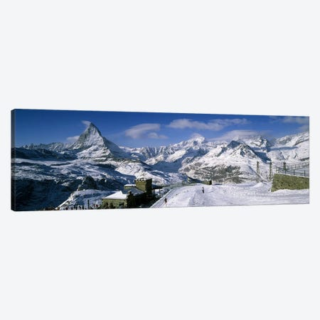 Group of people skiing near a mountain, Matterhorn, Switzerland Canvas Print #PIM5915} by Panoramic Images Canvas Art Print