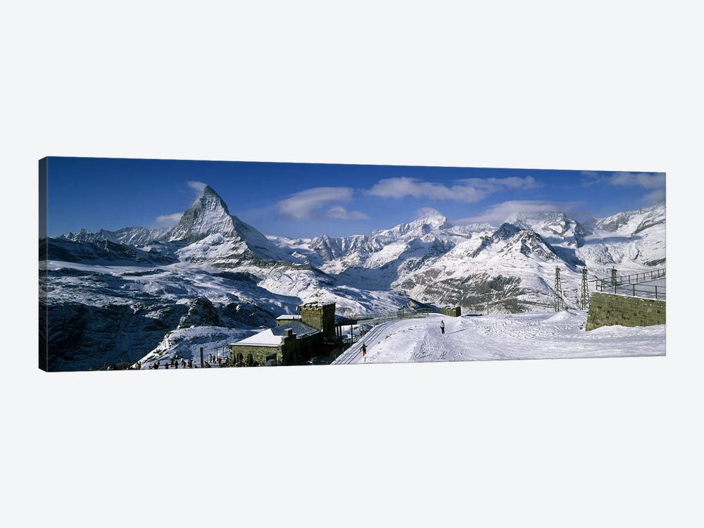 Group of people skiing near a mountain, Matterhorn, Switzerland by Panoramic Images 1-piece Canvas Wall Art