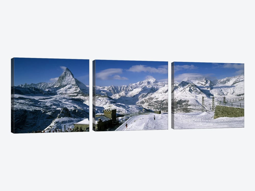 Group of people skiing near a mountain, Matterhorn, Switzerland by Panoramic Images 3-piece Canvas Art