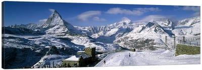 Group of people skiing near a mountain, Matterhorn, Switzerland Canvas Art Print