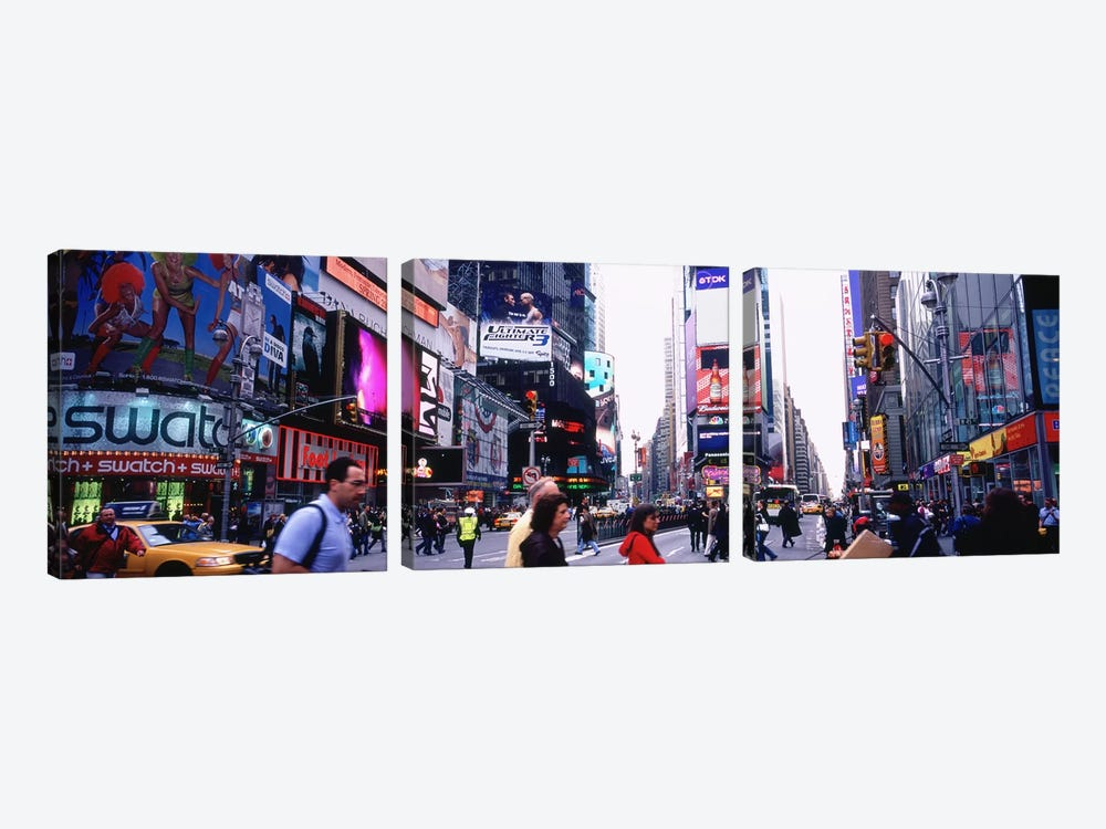 Group of People walking on the road, Times Square, Manhattan, New York City, New York State, USA by Panoramic Images 3-piece Canvas Artwork