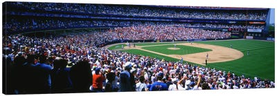 Spectators in a baseball stadium, Shea Stadium, Flushing, Queens, New York City, New York State, USA Canvas Art Print