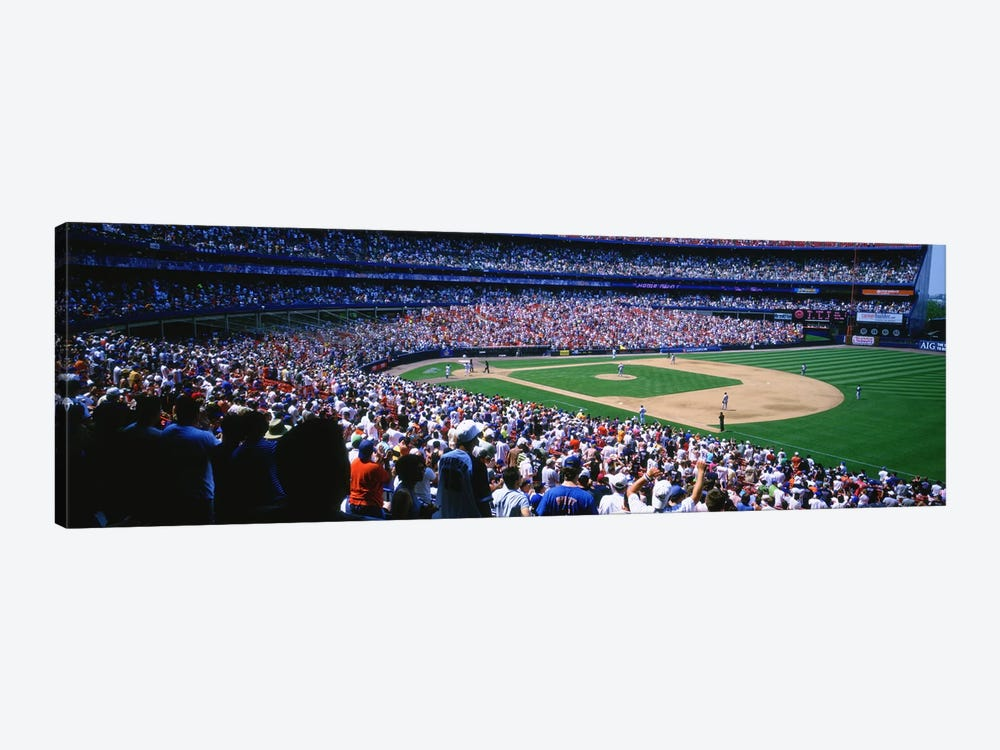 Spectators in a baseball stadium, Shea Stadium, Flushing, Queens, New York City, New York State, USA by Panoramic Images 1-piece Canvas Wall Art