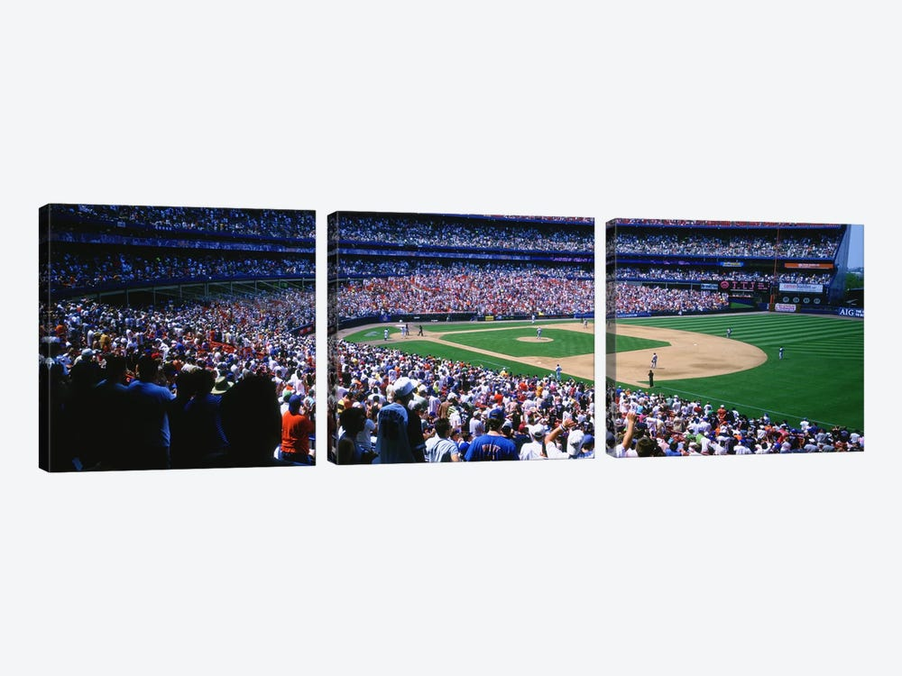 Spectators in a baseball stadium, Shea Stadium, Flushing, Queens, New York City, New York State, USA by Panoramic Images 3-piece Canvas Wall Art