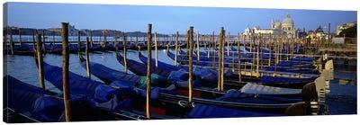 Gondolas moored at a harbor, Santa Maria Della Salute, Venice, Italy Canvas Print #PIM5925