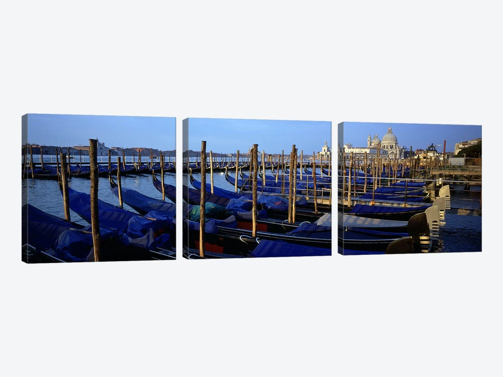Gondolas moored at a harbor, Santa Maria Della Salute, Venice, Italy by Panoramic Images 3-piece Canvas Art Print