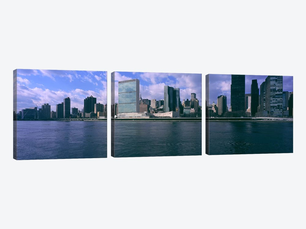 Skyscrapers at the waterfront, East River, Manhattan, New York City, New York State, USA by Panoramic Images 3-piece Canvas Art