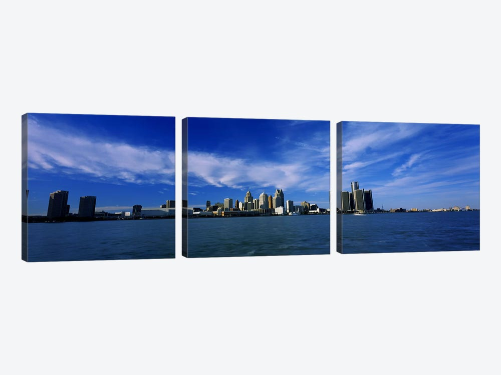 Buildings at the waterfront, Detroit, Michigan, USA #4 by Panoramic Images 3-piece Canvas Artwork