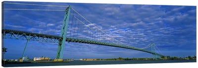 Low angle view of a suspension bridge over the river, Ambassador Bridge, Detroit River, Detroit, Michigan, USA Canvas Print #PIM5938