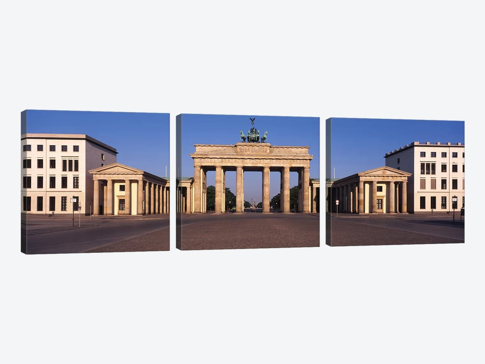 Facade of a building, Brandenburg Gate, Berlin, Germany by Panoramic Images 3-piece Canvas Artwork