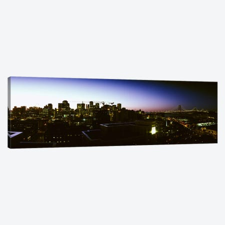 Buildings lit up at dusk, San Francisco, California, USA Canvas Print #PIM5954} by Panoramic Images Canvas Art Print