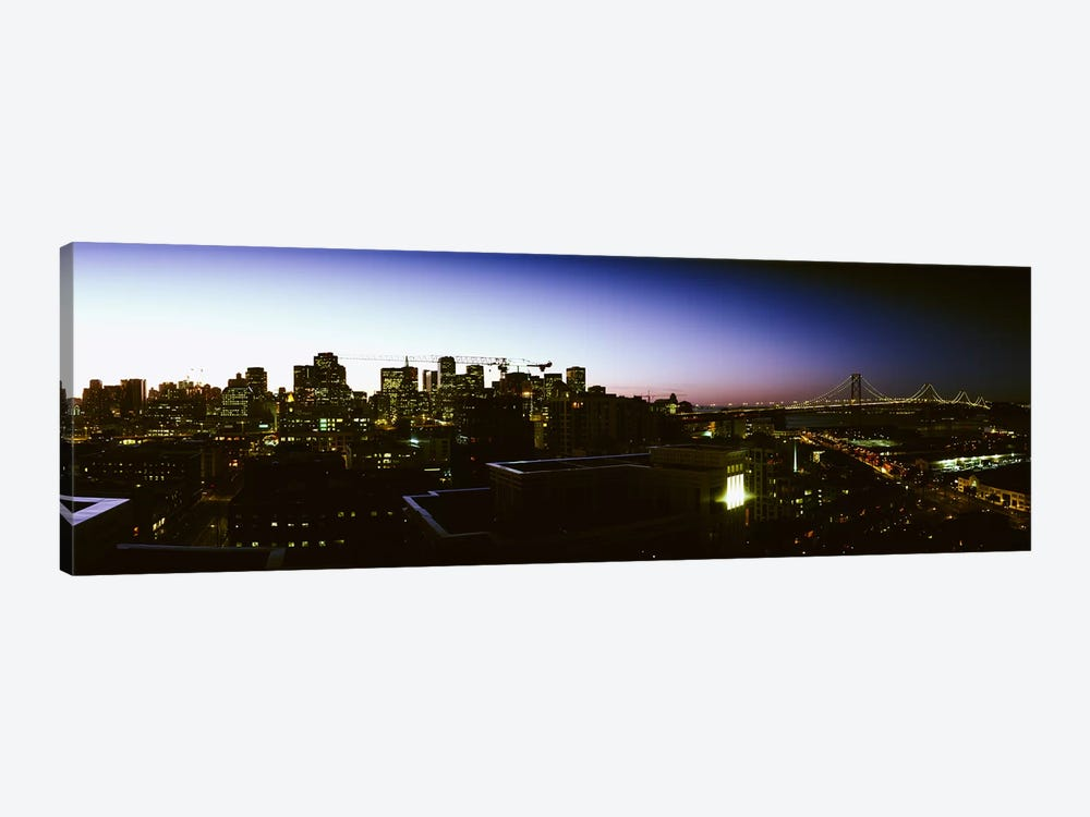 Buildings lit up at dusk, San Francisco, California, USA by Panoramic Images 1-piece Art Print