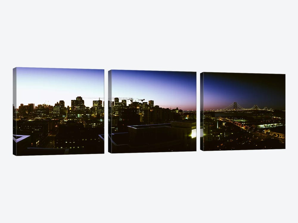 Buildings lit up at dusk, San Francisco, California, USA by Panoramic Images 3-piece Canvas Art Print