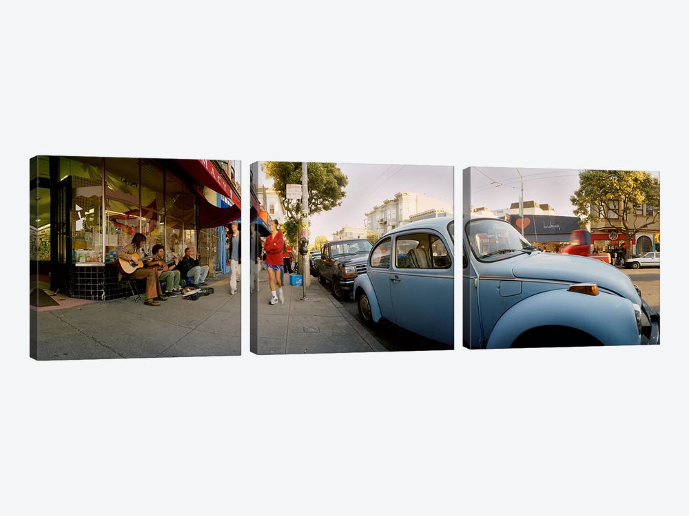 Cars parked in front of a store, Haight-Ashbury, San Francisco, California, USA by Panoramic Images 3-piece Canvas Art Print