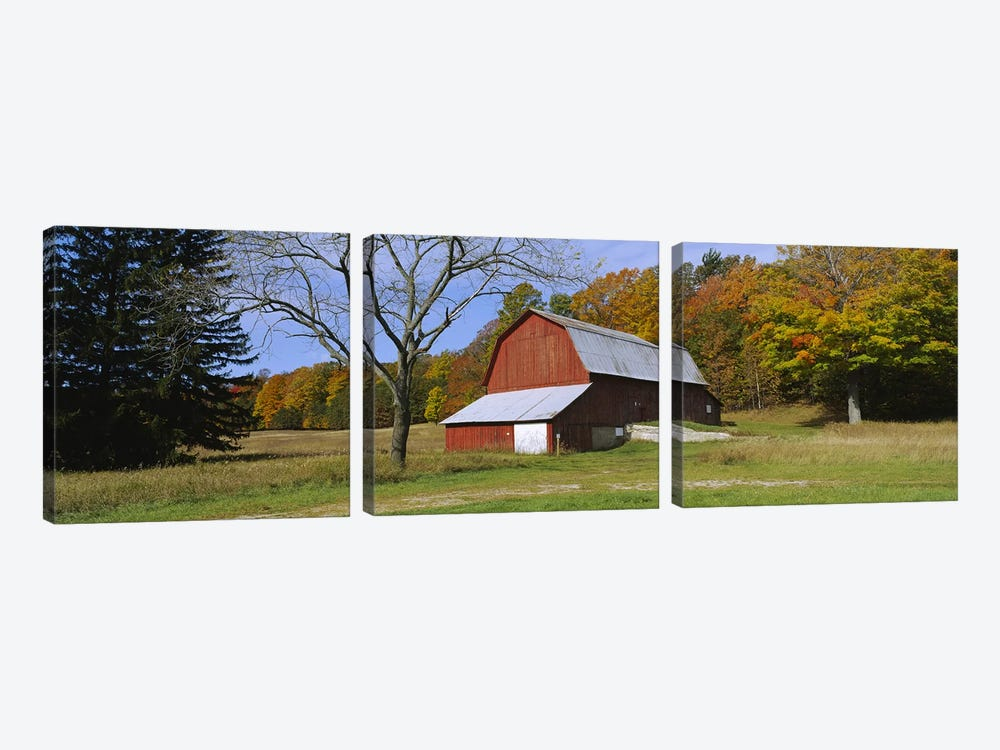 Charles Olsen Barn, Sleeping Bear Dunes National Lakeshore, Michigan, USA by Panoramic Images 3-piece Canvas Wall Art