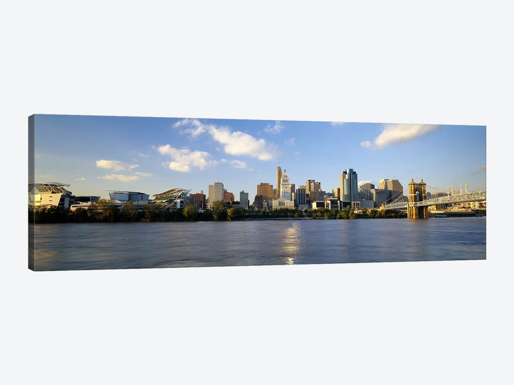 Buildings at the waterfront, Ohio River, Cincinnati, Ohio, USA by Panoramic Images 1-piece Canvas Art