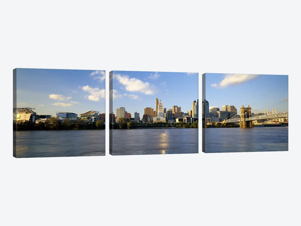 Buildings at the waterfront, Ohio River, Cincinnati, Ohio, USA by Panoramic Images 3-piece Canvas Artwork