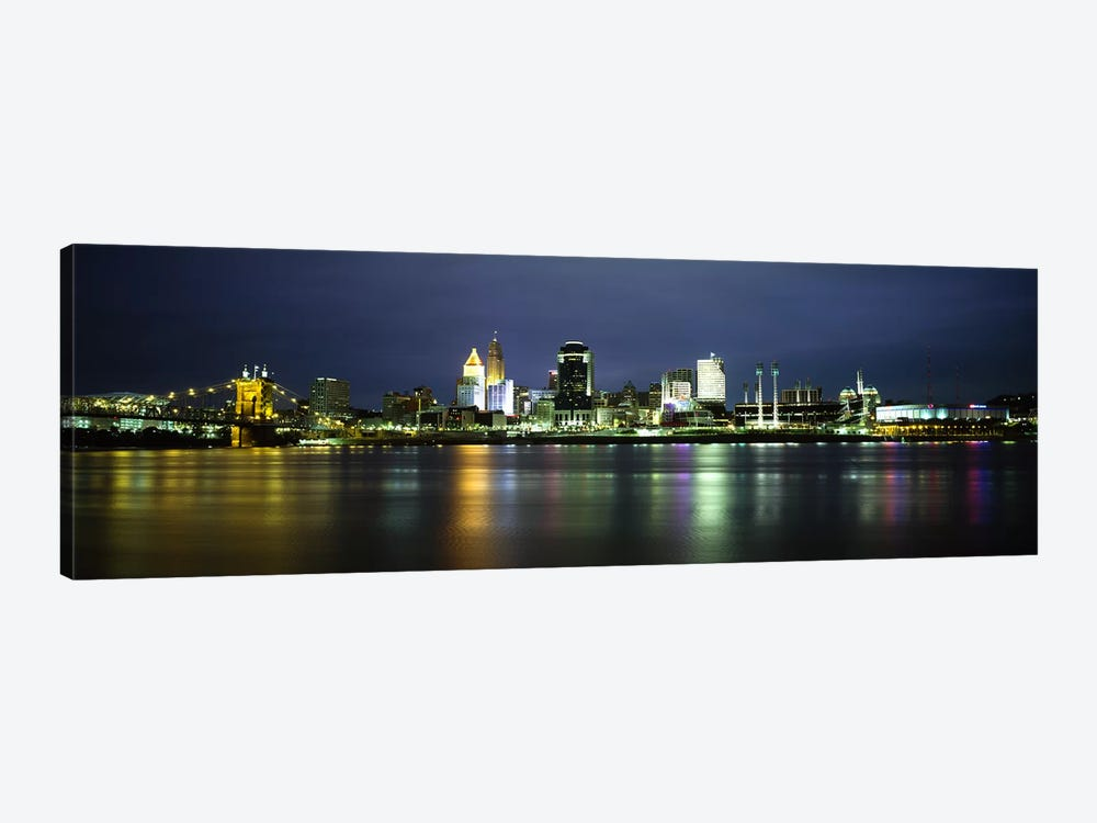 Buildings at the waterfront, lit up at nightOhio River, Cincinnati, Ohio, USA by Panoramic Images 1-piece Canvas Print