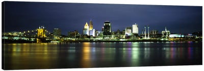 Buildings at the waterfront, lit up at nightOhio River, Cincinnati, Ohio, USA Canvas Art Print