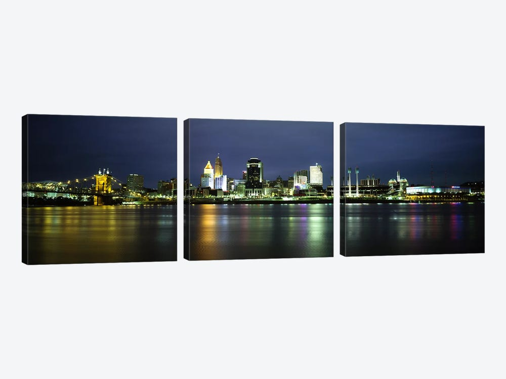 Buildings at the waterfront, lit up at nightOhio River, Cincinnati, Ohio, USA by Panoramic Images 3-piece Canvas Art Print