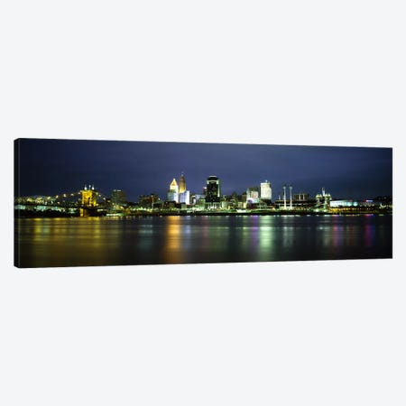 Buildings at the waterfront, lit up at nightOhio River, Cincinnati, Ohio, USA Canvas Print #PIM5963} by Panoramic Images Canvas Art Print