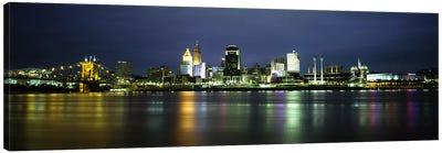 Buildings at the waterfront, lit up at nightOhio River, Cincinnati, Ohio, USA Canvas Art Print