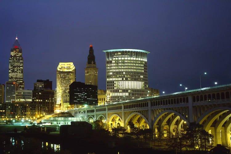 Bridge In A City Lit Up At Night Detroit Avenue Bridge Cleve Icanvas