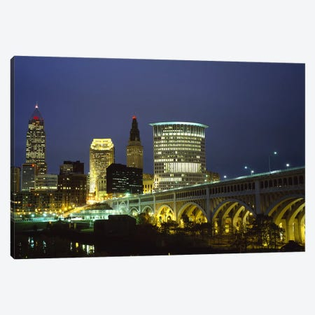 Bridge in a city lit up at night, Detroit Avenue Bridge, Cleveland, Ohio, USA Canvas Print #PIM5964} by Panoramic Images Canvas Art