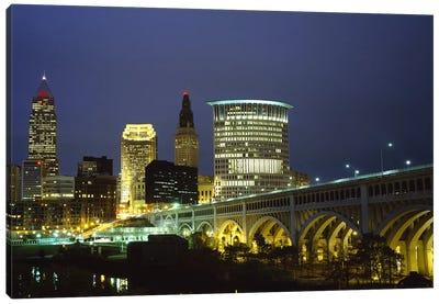Bridge in a city lit up at night, Detroit Avenue Bridge, Cleveland, Ohio, USA Canvas Print #PIM5964