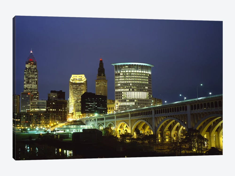 Bridge in a city lit up at night, Detroit Avenue Bridge, Cleveland, Ohio, USA 1-piece Canvas Wall Art