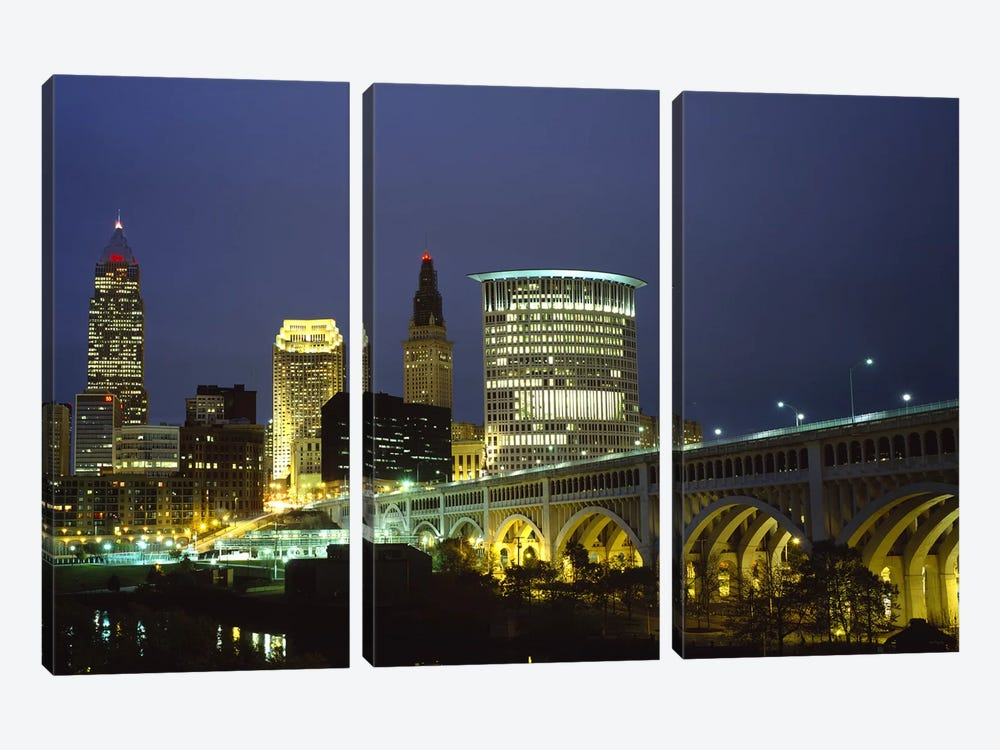 Bridge in a city lit up at night, Detroit Avenue Bridge, Cleveland, Ohio, USA by Panoramic Images 3-piece Canvas Art