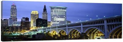 Bridge in a city lit up at dusk, Detroit Avenue Bridge, Cleveland, Ohio, USA Canvas Print #PIM5966