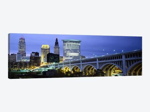 Bridge In A City Lit Up At Dusk Detroit Avenue Bridge Clevel Icanvas