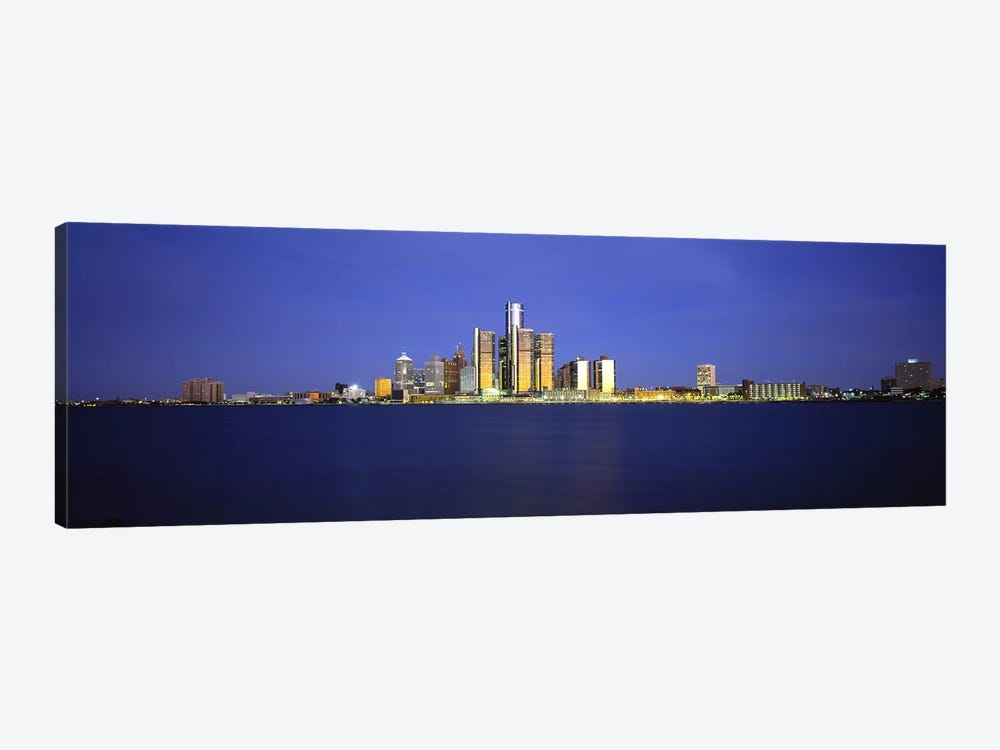 Buildings at waterfront, Detroit, Michigan, USA by Panoramic Images 1-piece Canvas Art Print
