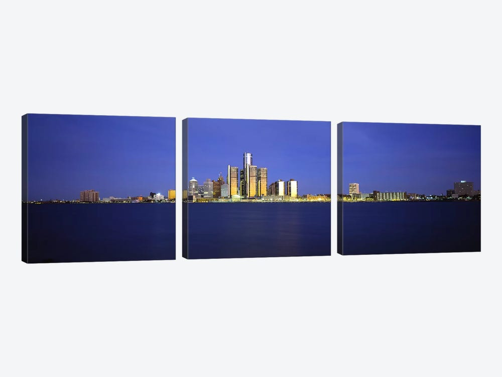Buildings at waterfront, Detroit, Michigan, USA by Panoramic Images 3-piece Canvas Print
