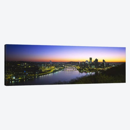 Buildings lit up at dawnPittsburgh, Pennsylvania, USA Canvas Print #PIM5968} by Panoramic Images Canvas Art Print